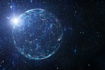 Shiny cyberspace computer network with globe, binary numbers and flare of light, view from space. Illustration background.