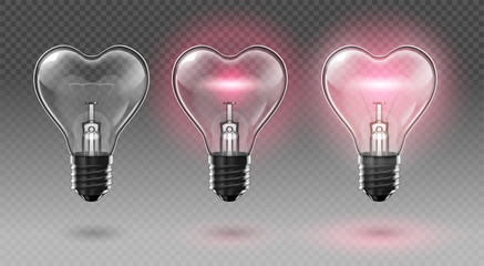 Three transparent heart-shaped bulbs. Two of them glow. Transparent background. Highly realistic illustration.