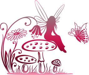 Kleine Elfe, Fee auf einem Pilz. Wiese mit Blumen, Pilze und Schmetterling. Rote Effekte.