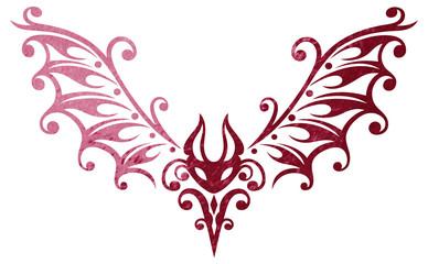 Filigrane Tribal, Tattoo Fledermaus, kleiner Blutsauger. Rote Effekte.