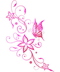 Blumen mit Schmetterling. Filigrane, florale Ranke mit Schmetterling und Blüten. Ultra pink watercolor.
