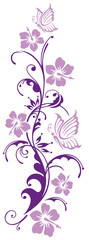 Florale Ranke mit Hibiskusblüten und Schmetterlingen. Hibiskus. Watercolor Style.