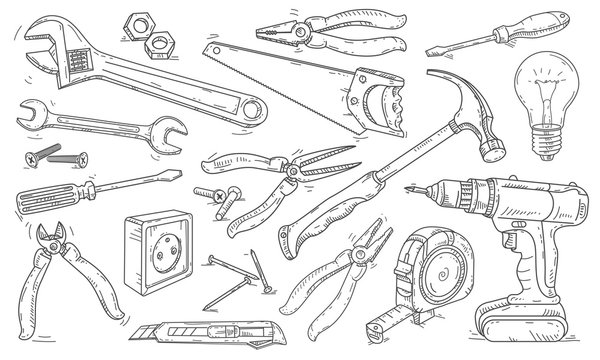 Vector line drawing icons, different tools for repairs around the house.