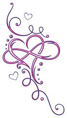 Herz Tribal mit Unendlichkeitsschleife, infinity. Pink und blau.