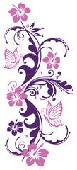 Florale Ranke mit Hibiskusblüten und Schmetterlingen. Hibiskus. Flieder und lila.