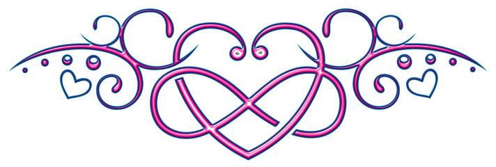 Großes Herz mit Unendlichkeitszeichen und kleinen Herzen. Pink und Blau.