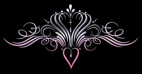 Krone mit Herz. Princess Design, pink, grau. Sehr filigrane Kalligrafie Krone mit Herz und Ornamenten.