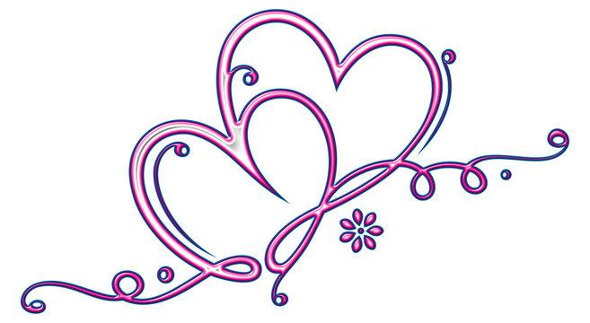 Zwei filigrane, verliebte Herzen mit Verzierungen, Blüte und infinity Symbol. Unendlichkeitsschleife. Pink und Blau.
