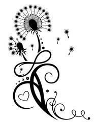 Große Pusteblume. Löwenzahn mit Blättern und Unendlichkeitsschleife. Sommer und Frühling.