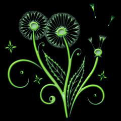 Pusteblume. Löwenzahn mit Blättern. Schönes Motiv für den Sommer und Frühling. Neongrün Style.