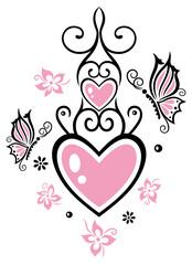 Zwei Herzen mit Schmetterlingen und Blumen. Muttertag.