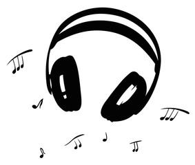 Kopfhörer mit Musiknoten. Für alle die es lieben, Musik zu hören. Music Design.