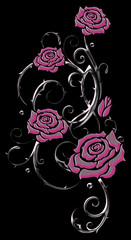 Filigrane Ranke mit pink grauen Rosen und Dornen. Glas Effekt.
