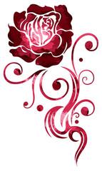 Rote Tribal Tattoo Rose, Aquarell. In love. Watercolor.