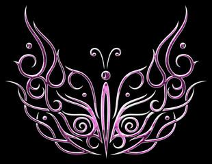Großer Schmetterling mit breiten Flügeln in pink und weiß. Sommer.