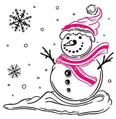 Schneemann mit Schal, Mütze, Schnee und Schneeflocken. Tolles Design für alle die den Winter und Schnee lieben und gerne Ski fahren.