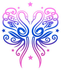 Zwei Schlangen mit Sternen, die zusammen einen großen Schmetterling bilden. Pink und blau.