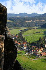 View from the bastion bridge, saxon switzerland, to mountain Lilienstein and city Wehlen