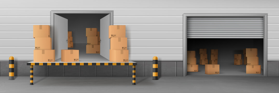 Shop storehouse, store rear entrance for cargo unloading, delivery company warehouse realistic vector with opened doors and roll gates, parcels cardboard boxes inside and on loading ramp illustration