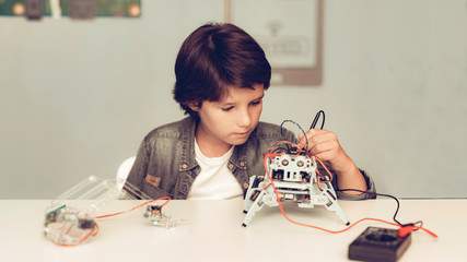 Boy Sitting at Desk and Constructing Robot at Home