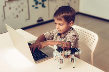 Little Boy in Shirt Programming Robot at Home.