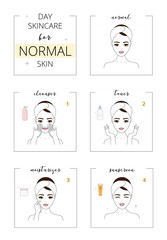 Beautiful girl with normal skin, face day care for acne skin. Line style vector illustration, isolated on white background.