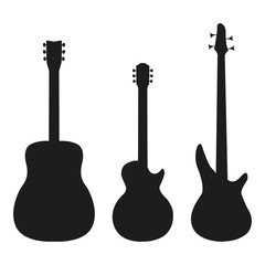 Set guitar in silhouette style on a white background
