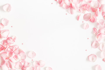 Fototapeta Flowers composition. Rose flower petals on white background. Valentine's Day, Mother's Day concept. Flat lay, top view, copy space obraz