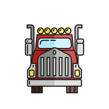 Truck in flat style on a white background