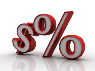 3d rendering Dollar symbol with percentage