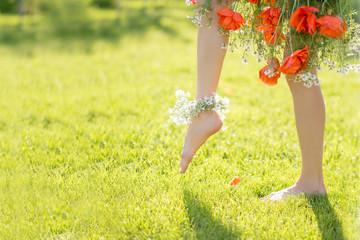 Beautiful woman legs barefoot, steps