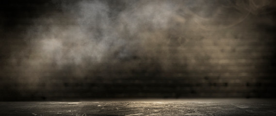 Fotomurales - Background of an empty dark room, smoke and dust.