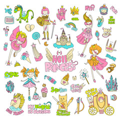 Brave tomboy Hell princess vector cartoon set. Princess magic and feminism illustration, little teen girl, princess superhero and warrior, brave girl illustration. Feminism princesses collection -