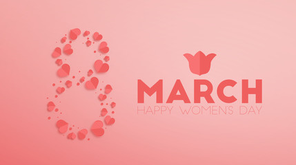 March 8. Happy Women's Day paper cut background