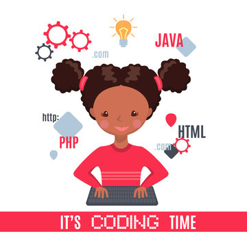 African American Smiling girl sitting at laptop and learning coding.