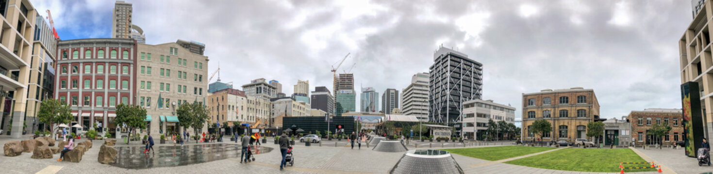 AUCKLAND, NEW ZEALAND - AUGUST 26, 2018: City skyline from Britomart, panoramic view on a cloudy afternoon