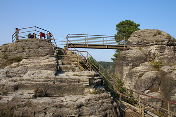 Saxon Switzerland, Elbe Sandstone Mountains, rock formation, tourists, Germany