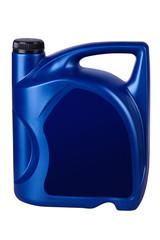Blue canister of engine oil. Motor oil bottle.