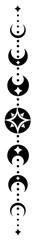 Mond Totem. Vector Design mit Mondphasen und Sternen. Pagan und Wicca Art.