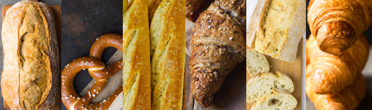 Long high resolution banner for bakeries pastry shops. Variety assortment of different kinds of bread baked goods baguettes croissants pretzels ciabatta batard