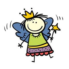 Vector cute child hand drawn sketch fairy girl