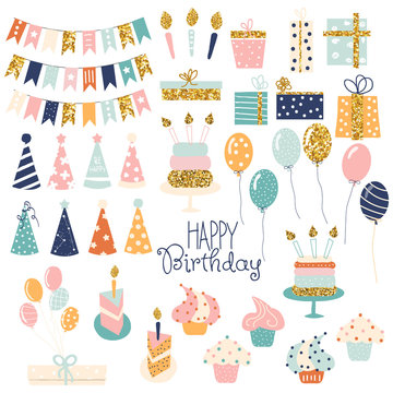 Birthday party glitter set.  Collection of holiday items. Vector hand drawn illustration.