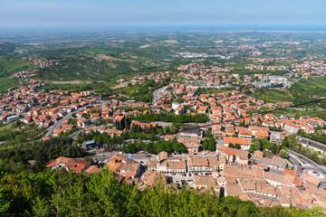 Summer panorama Republic of San Marino and Italy.