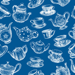 Seamless pattern of cups and teapots sketches