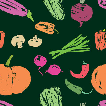 Seamless background of vegetables sketches