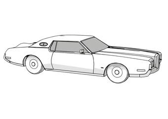 sketch of a retro car with shadows
