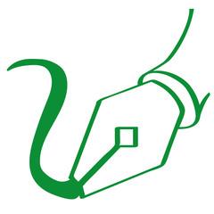 Handgezeichnete Füllfeder in grün