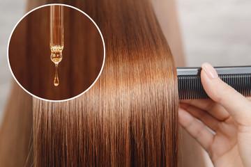 Oil hair treatment for woman. Concept hairdresser spa salon
