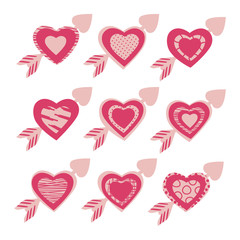 Set of vector hearts with an arrow in  pink color.
