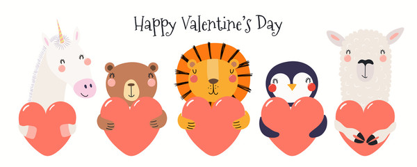 Spoed Fotobehang Illustraties Hand drawn card with cute funny animals holding hearts, text Happy Valentines day. Isolated objects on white background. Vector illustration. Scandinavian style flat design. Concept for children print